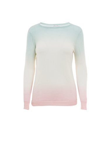 Minnie Rose Women's Cashmere Double Dip Dye Pullover L Jadeite/Rose (Jadeite Apparel)