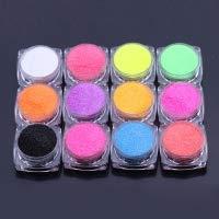 - 12 Pc Candy Sugar Glitter Powder Nail Dust Tips Manicure Holographic Mirror Chrome Pigment Kit Elegant Popular Fine UV Gel Polish Acrylic Nails Art Makeup Tool