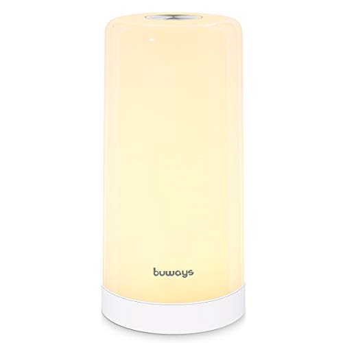 buways Table Lamp, LED Bedside Lamp with Touch Control, Warm White Light Cool White Light Vibrant RGB Colors, Dimmable Night Light for Bedrooms Living Room