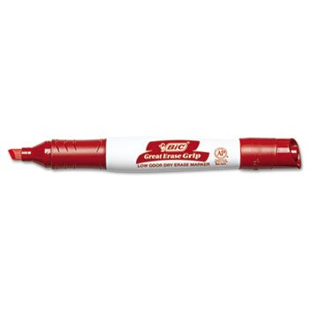 3 Pack Great Erase Grip Dry Erase Markers, Chisel Tip, Red, Dozen by BIC CORP. (Catalog Category: Paper, Pens & Desk Supplies / Markers / Dry Erase)