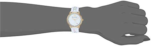 Juicy Couture Black Label Women's JC/1084GPWT Swarovski Crystal Accented Gold-Tone and White Resin Bangle Watch