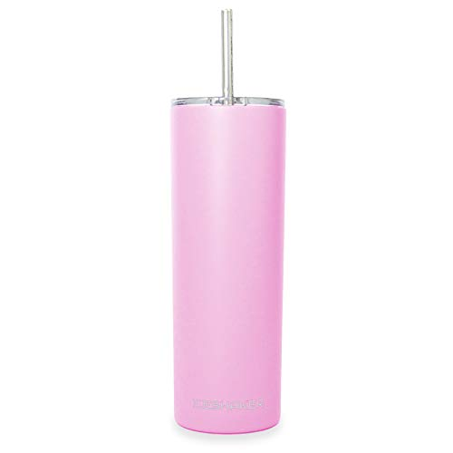 (Ice Shaker 20 oz Skinny Tumbler (Soft Pink)- Stainless Steel Tumbler & Insulated Water Bottle With Straw - Vacuum Insulated Tumbler For Hot and Cold Beverages- Tumbler With Lid Holds Ice for 30+ Hours)