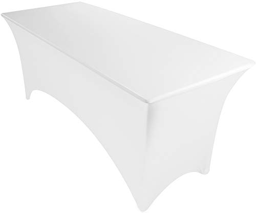 Utopia Kitchen Stretchable 6 Feet White Tablecloth (Table Wood Foot 6)