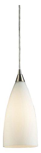 (Vesta 1 Light Pendant in Satin Nickel and White Glass)