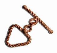 Genuine Copper 16mm Swirl Rope Triangle Toggle Clasp (2) ()