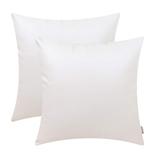 Brawarm Cozy Throw Pillow Covers Cases for Couch Sofa Bed Solid Faux Leather Luxury Soft Thick Cushion Covers for Home Decoration 20X 20 Inches Ivory White Pack of 2