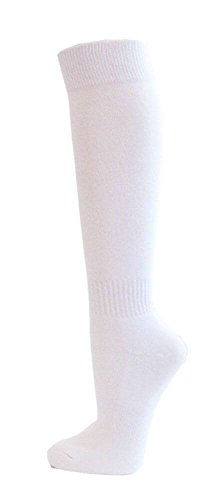 Couver Knee High Cotton Baseball, Softball, Multi-Sports Socks(White M)