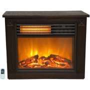 Fireplace, Electric, Heater, Adjustable Thermostat, Standing, Brown