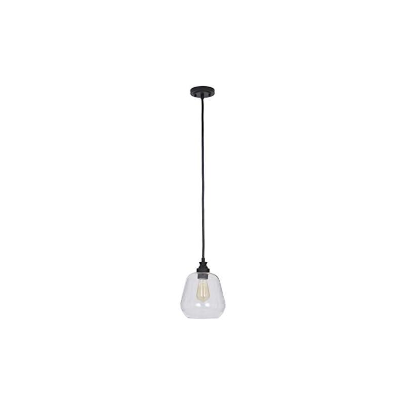 "Amazon Brand – Stone & Beam Glass Shade Pendant Light Chandelier with LED Light Bulb, 11""H, Adjustable 85""L Cord, Bronze"