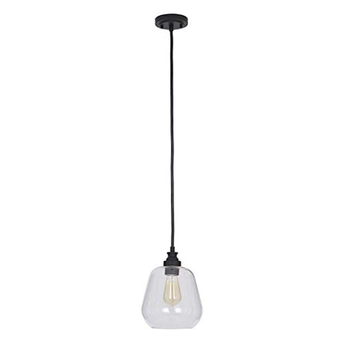 Stone & Beam Glass Shade Pendant Light Chandelier with LED Light Bulb - 8.5 x 8.5 x 11 Inches, 84.75 Inch Cord, Bronze