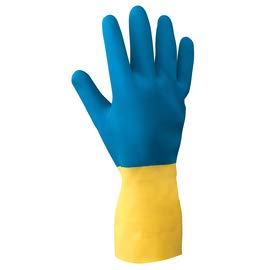 Radnor Size 9 Blue and Yellow 22 mil Latex and Neoprene Chemical Resistant Gloves - 12 Pairs/Dozen