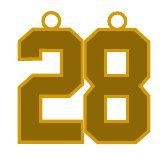 Number 28 Jersey Style Sports Necklace Charm Pendant #28 (0.8'' Tall - Standard Size) GOLD PLATED Perfect For: Football, Baseball, Basketball, Soccer, Hockey, Softball, Volleyball, Lacrosse & More