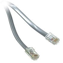 C2G 14ft RJ11 6P4C Straight Modular Cable - RJ-11 Male - RJ-11 Male - 14ft - Silver ()