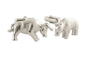 David Donahue Sterling Silver Bull and Bear Cufflinks (H95128402) (Bull Bear Cufflinks)
