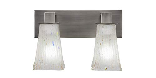 Toltec Lighting 582-GP-631 Apollo - Two Light Bath Bar, Graphite Finish with Square Frosted Crystal Glass