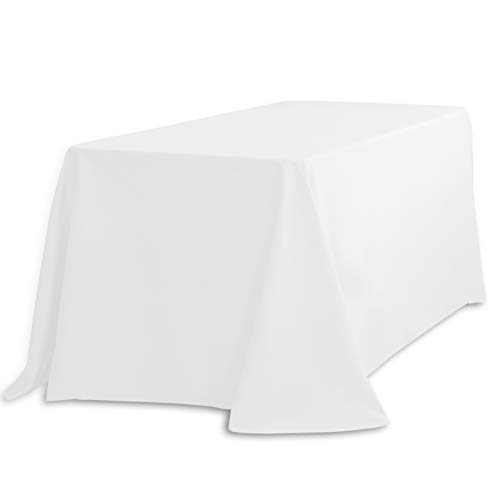LinenTablecloth 90 x 132-Inch Rectangular Polyester Tablecloth with Rounded Corners, -