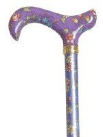 Purple floral ladies adjustable walking stick by Canes