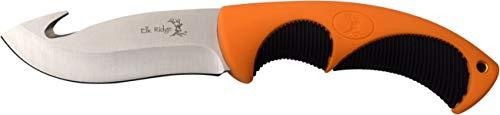 Hook Handle Rubber Gut (Elk Ridge ER-200-02G Fixed Blade Knife with Steel Gut hook Blade Nylon Fiber Handle, 4