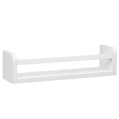 (Halter Single Unit Decorative Floating Shelf -White Floating Shelf w/Rail Frame for Added Support- Ideal for Dainty Collectibles. Easy Installation. Dimensions: (White))