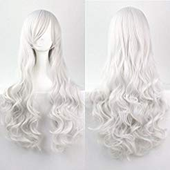 Womens/Ladies 80cm Sliver White Color Curly Cosplay/Costume/Anime/Party/Bangs Full Sexy Wig Sliver -