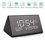 Wooden Digital Alarm Clock with 7 Levels Adjustable Brightness, HattyRoom Electric LED Bedside Travel Triangle Alarm Clock for Bedroom Office Home
