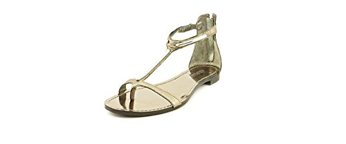 Guess Women's Flent Ankle Strap Flat Sandals in Pewter Size 9.5