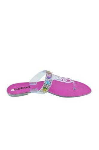 Dames Strass Band Helder Gelei Flip Flops Slip Op Dias String Sandalen (pamela-55) Fuchsia