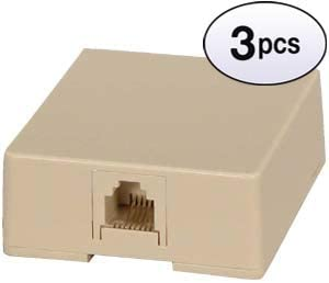RJ11 Modular Single Port Surface Mount Jack Ivory 3 Pack GOWOS