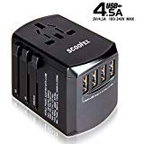 Universal Travel Adapter, International Power Adapter Electric Outlet Converters Wall Charger AC Plug with 4 x 2.4A USB Ports, 3.0A USB Type-C for Canada, USA, Europe, UK, AU, Asia 150 Countries, fo