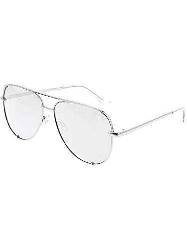 Quay Australia HIGH KEY Men's and Women's Sunglasses Classic Oversized Aviator - Silver
