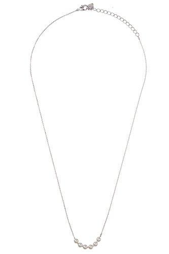 GlitZ Finery Aligned Faux Pearl Accent Pendant Necklace (Rhodium)