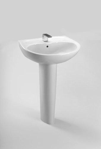 TOTO LPT241G#01 Supreme Lavatory and Pedestal with Single Hole, Cotton White