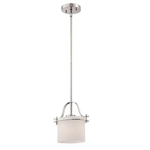Lquide Loren One Light Mini-Anhänger 100 Watt A19 max. Geätzte Opalglas venezianische Bronze Fixture (Polished Nickel, 1Lt Pendant) 1lt Pendant Light Fixture