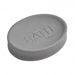 EVIDECO Stoneware Soap Dish Cup Bath Sand Stone Effect, Gray from EVIDECO