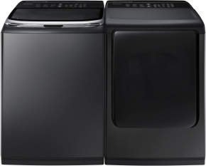 Samsung ActiveWash Pair-Mega-Capacity HE Top Load Laundry System with Matching GAS Dryer in Alluring Black Stainless Finish (WA50K8600AV+DV50K8600GV)