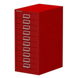 Bisley 10 Drawer Filing Cabinet Red All Steel Construction With Chrome  Plated D Ring