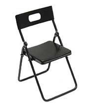 Dollhouse Miniature Black Metal Folding Chair, Baby & Kids Zone