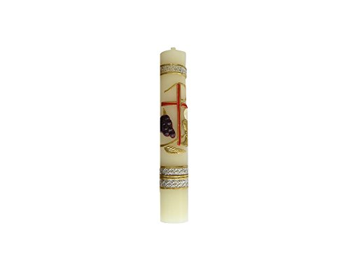 Angelitos de Mexico Small Holy Spirit First Communion 6 in (16 cm) Lent Candle with Papal Cross and The Monstrance Catholic Religious - First Communion Holy Candle