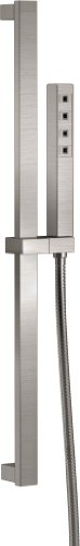 Delta Faucet Single-Spray H2Okinetic Slide Bar Hand Held Shower with Hose, Stainless ()