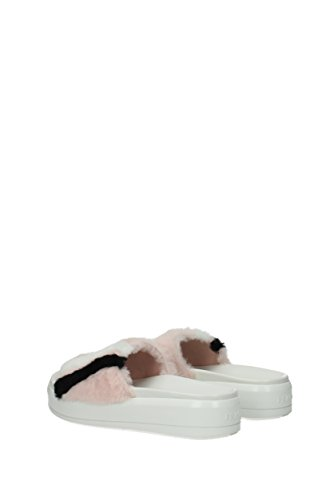 UK and Prada Pink 1XX374 Fur Slippers Women Clogs Yp85qp