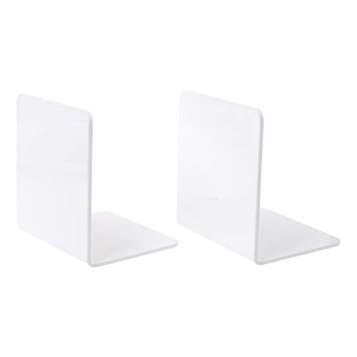 Bookends Storage - 1 Pair White Acrylic Bookends L-Shaped Nonskid Bookshelf Minimalism Book Dividers Magazine Document Storage Music CD Storage Rack