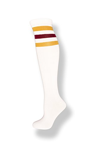 NeonNation Unisex White Knee High Team Tube Socks w/Three Various Colored Stripes (White w/Gold & Burgundy Stripes) -