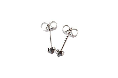 HONEYCAT Tiny Iron Ore Point Solitaire Studs   Minimalist, Delicate Jewelry (Silver) (Iron Jewelry)