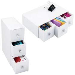 mDesign Set da 2 Organizer ufficio – Mini cassettiera da scrivania – Versatili cassetti scrivania in plastica con pomelli cromo – bianco MetroDecor