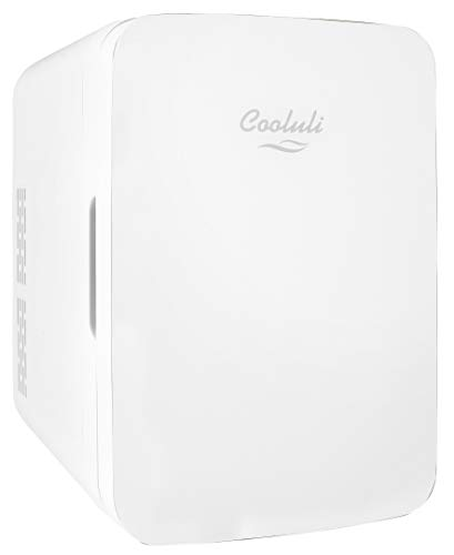 Cooluli Infinity White 10 Liter Compact Portable Cooler Warmer Mini Fridge for Bedroom, Office, Dorm, Car - Great for Skincare & Cosmetics (110-240V/12V)