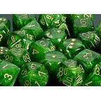Chessex Dice: Polyhedral 7-Die Vortex Dice Set - Green w/Gold ()