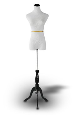 Sale!! Dress Form: White Female Dress Form on Black tripod Stand Size 2-4