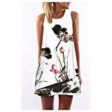 SRYSHKR Rolili Clearance 2018 Vintage Boho Women Summer Sleeveless Beach Printed Short Mini Dress (White, XXL)