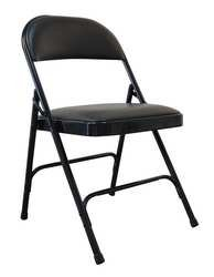 Industrial Grade 13V425 Folding Chair, Vinyl, Steel, Black