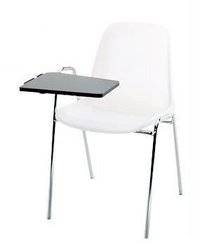 KARISMA - SELENA C D/2 + TAV, Sedia In Plastica Ufficio / Scuola Più Tavoletta Ribaltina Scrittoio, Beige Eurotekna
